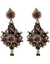 Agarwal Bentex Gold Plated Peacock Design Meena Earring For Women