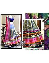 Jomso Blue & Pink Wedding Lehenga Choli