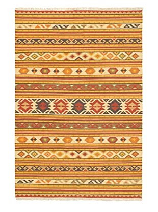 Hand Woven Kashkoli Wool Kilim, Cream/Light Orange, 5' 2
