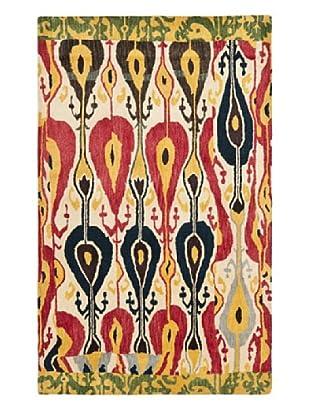 Safavieh Hand-Tufted Wool Ikat Rug, Cream/Green (CREAM/GREEN)