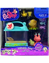 LITTLEST PET SHOP FUNNIEST PETS GIFT SET FEATURING SALMON COLOR HERMIT CRAB #929 AND YELLOW FROG #928 PLUS TANK AND BONUS TOYS