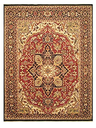 Hand-Knotted Royal Heriz Wool Rug, Black/Red, 12' x 17' 10