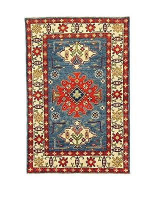 L'Eden del Tappeto Teppich Uzebekistan Super blau/rot/beige 148t x t100 cm