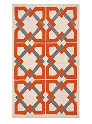 Trina Turk Rugs Geometric Tile Hook Rug (Orange/Grey)