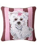 Peking Handicraft 14-Inch by 14-Inch Needle Point Pillow, Lacee