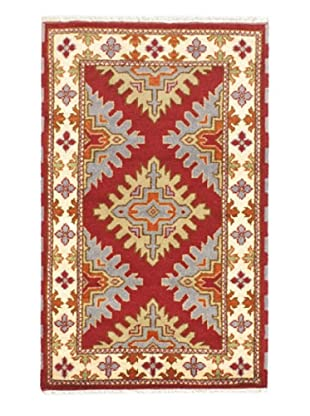 Hand-Knotted Royal Kazak Wool Rug, Cream, Dark Red, 3' x 5'