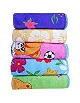 Littly Baby Wash Cloths/ Hankies , Pack of 5 (Multicolor)