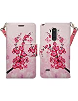 LG G Stylo Case (Sprint, MetroPCS, T Mobile, Boost Mobile, Cricket) - Magnetic Leather Folio Flip Book Wallet Pouch Case Cover With Fold Up Kickstand and Detachable Wrist Strap - Lotus Flower