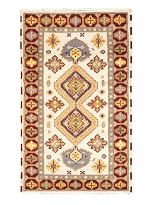 Hand-Knotted Royal Kazak Wool Rug, Cream, 3' 2