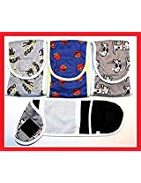 SET - 3pcs Dog Puppy Diaper MALE Boy Belly Band Reusable Washable for SMALL Dog Breeds (Gray - Blue - Gray, S - Waist 10 - 12 )