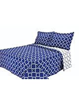 Eileen West Lattice by Melange Home Super Soft Quilt Set, King, Blue