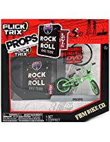 Spinmaster Flick Trix Fingerbike Real Bikes Unreal Tricks BMX Bicycle Miniature Set - Green Color FBM BIKE CO. with Display Base and DVD Props Rock N Roll BMX Tour by Levis