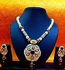Deep maroon stone meenakari pearl mala ethnic Indian necklace set jewelry