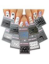 Striking Nail Art 3D Stickers Decals Silver Gold Black & White Variety Pack of 10 - Flowers ♥ Leaves ♥ Heart Line ♥ Feather ♥ Hearts - / GSBWI /