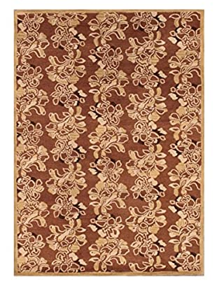 Small Floral Rug, Brown/Tan, 5' x 8'