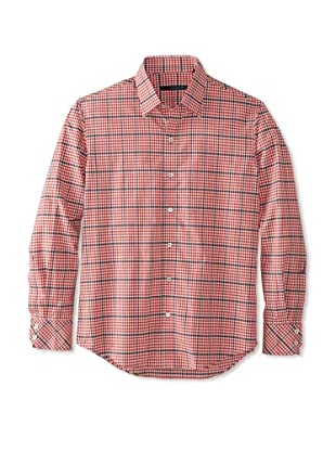 Zachary Prell Men's French Checked Long Sleeve Shirt (Red)