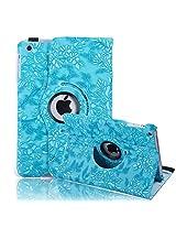 HDE iPad Mini Tablet Case Rotating Flip Stand Folding Magnetic Cover Designer for Apple Mini 2/3 Retina(Blue Flower)