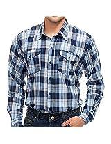 4Stripes Men's Shirt (4SSH010_Beige Blue_X-Large)