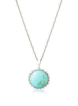 Anzie Quartz Large Round Dew Drop Pendant Necklace, Turquoise and Silver