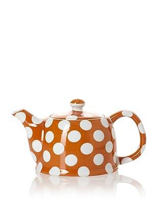 Classic Coffee & Tea White Dots Teapot (Pumpkin Orange)