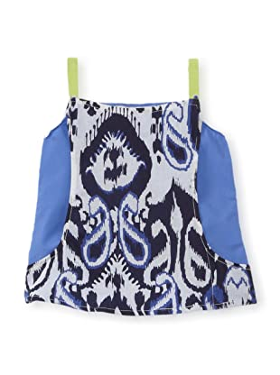 LA Lounge Girl's Tribal Print Big Pocket Tank (Blue/Lime)