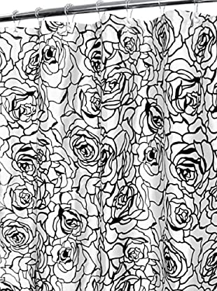 Park B. Smith Cabbage Rose Shower Curtain (White/Black)