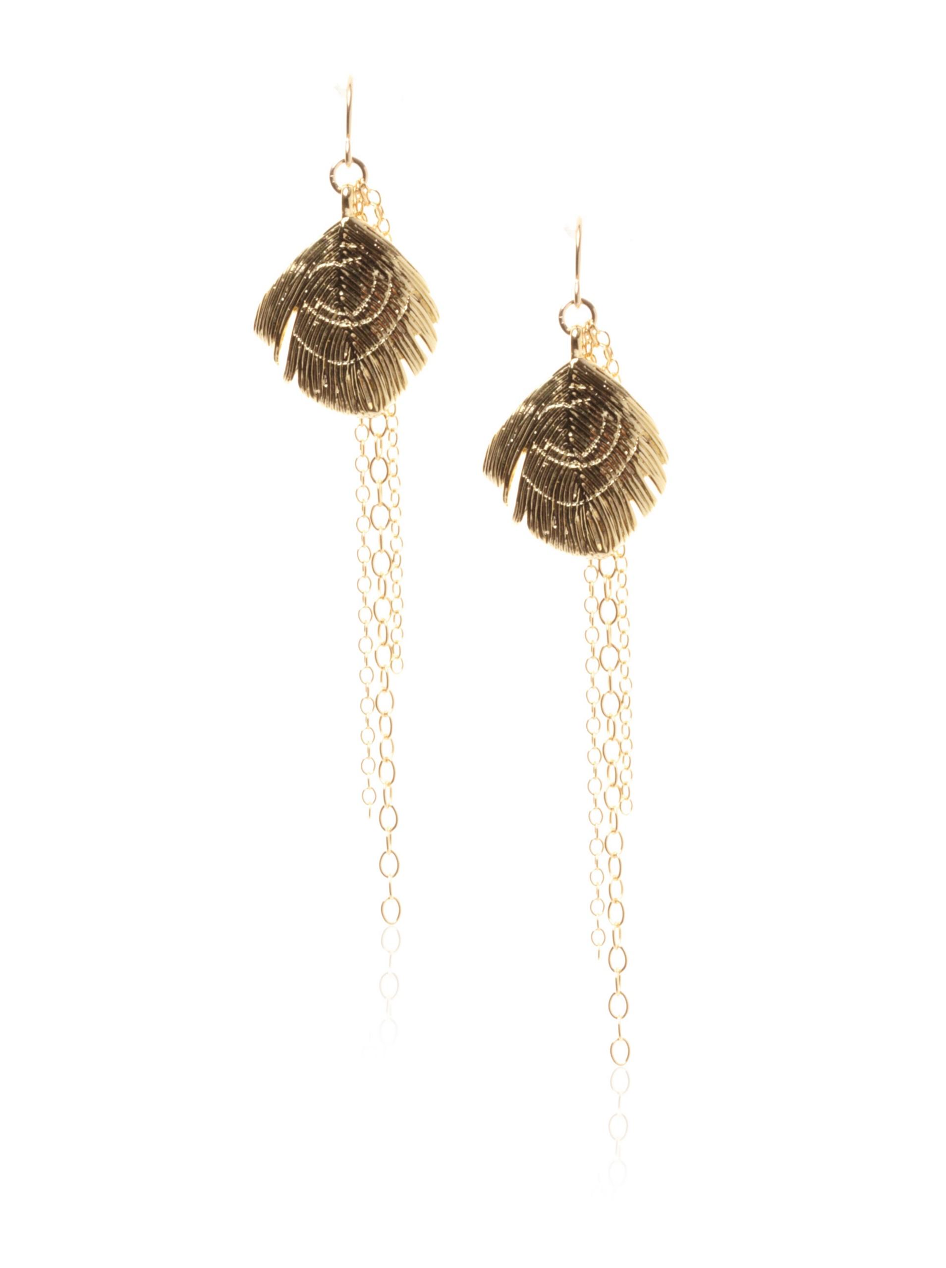 gorjana Peacock Tassel Earrings , Gold