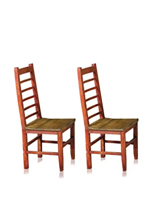 Reclaimed Wood Furniture Set of 2 Cerveza Dining Chair (Red)