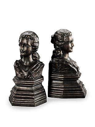 Venezia Set of 2 Bronze-Finish Resin Bookends (Bronze)