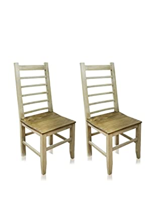 Reclaimed Wood Furniture Set of 2 Ladder Dining Chair (White)