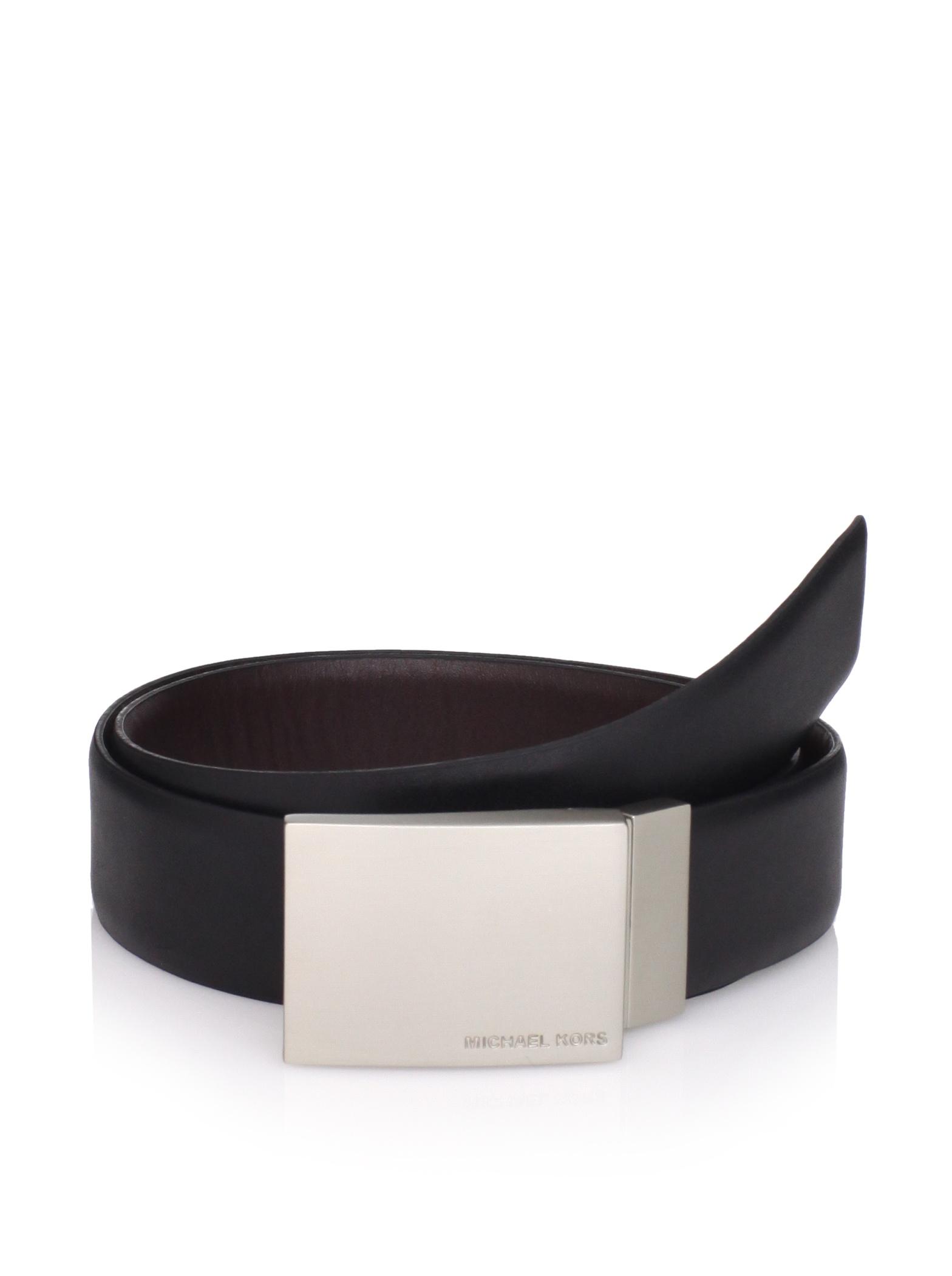Michael Kors Men's Reversible Plaque Belt (Black/brown)