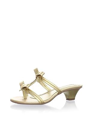 Pampili Kid's Double-Bow Kitten Heel Sandal (Gold)