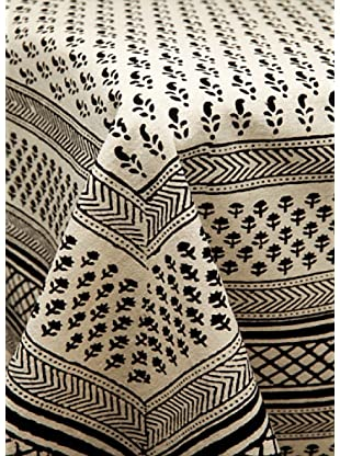 Mela Artisans Manipuri Tablecloth, Black/White