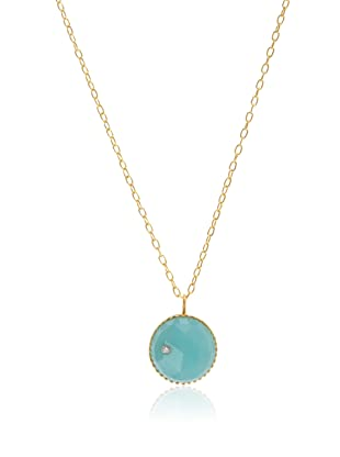 Kevia Rococo Gold Round Chalcedony Pendant Necklace