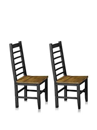 Reclaimed Wood Furniture Set of 2 Cerveza Dining Chair (Black)