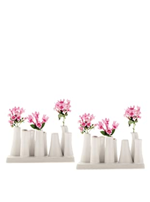 Chive Set of 2 Pooley2 8-Tube Color Vases, White
