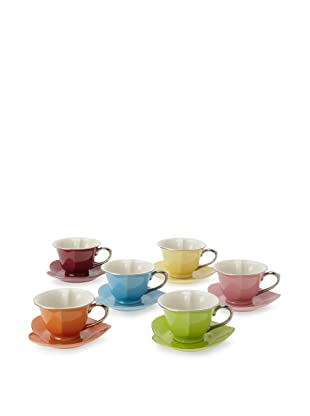 Classic Coffee & Tea Inside Out Heart Cups & Saucers, Set of 6 (Assorted/Platinum)
