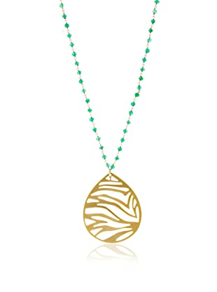 Lola James Animal Kingdom Pendant Dyed Necklace, Gold/Emerald