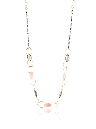 Misha Pink Opal & Smoky Quartz Two-Tone Circles Necklace