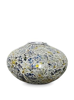 Global Pickings Sunshine Oval Mosaic Vase (Silver/White/Multi)
