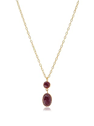 Kevia Rococo Ruby Double Drop Pendant Necklace