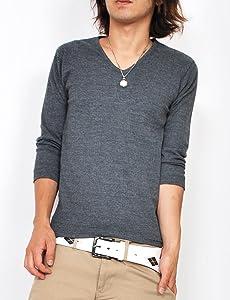 5color ランダム テレコ Vネック 7分袖 無地 カットソー Tシャツ