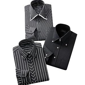 (フランコ コレツィオーニ) Franco Collezioni あったかドレスシャツ3枚セット (ブラック系)