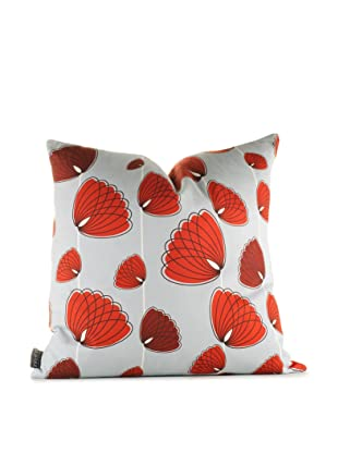 Inhabit Floating Lotus Pillow (Silver/Scarlet)