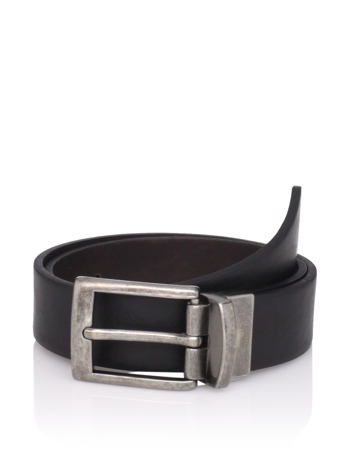 Ike Behar Boy's Reversible Leather Belt (Black/brown)