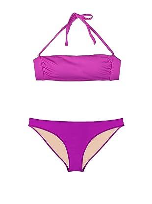 Cosabella Swim Women's Sol Italian Bandeau Top & Low Rider Bottom Bikini Set (Jelly)