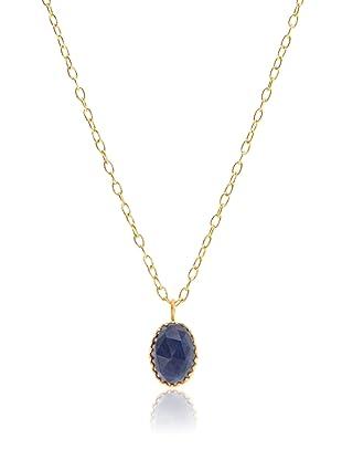 Kevia Rococo Sapphire Rose Cut Oval Pendant Necklace