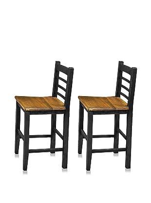 Reclaimed Wood Furniture Set of 2 Cerveza Barstools (Black)