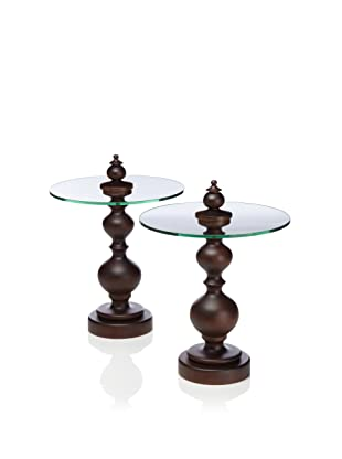 Zodax 2-Piece Monte Cristo Glass-Top Accent Table Set, Brown