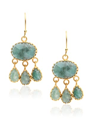 Kevia Rococo Emerald Dangle Earrings